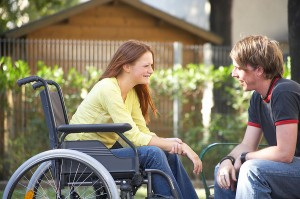 Girl in wheelchair on a date with a boy.