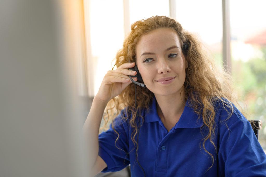 Female caller or receptionist phone operator.