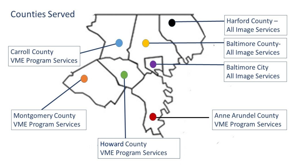 Harford, Baltimore City, and Anne Arundel County: all IMAGE services. Carroll, Montgomery, and Howard County, VME Services.