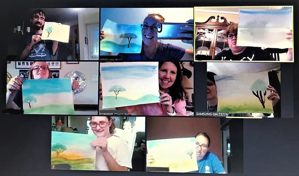 teens show their watercolors in a zoom meeting