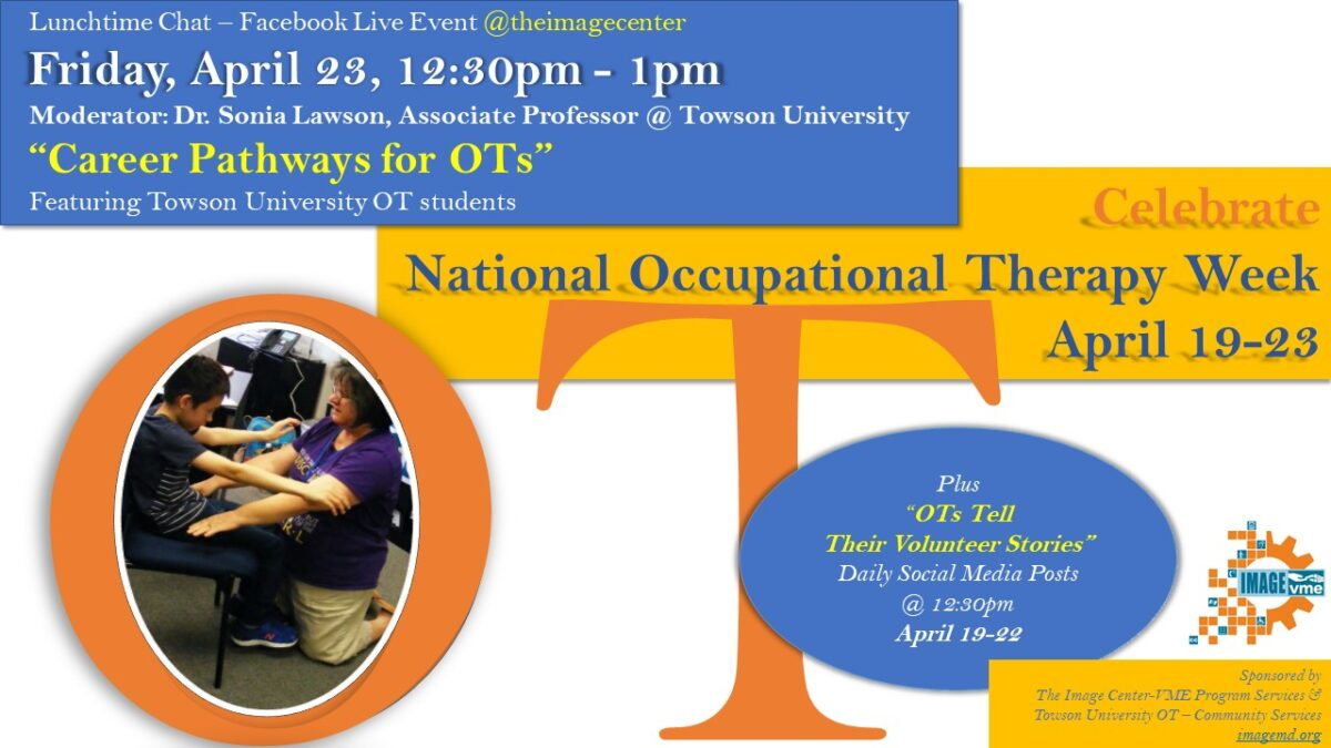 Collage of pictures with the dates of Occupational Therapy Week April 19-23