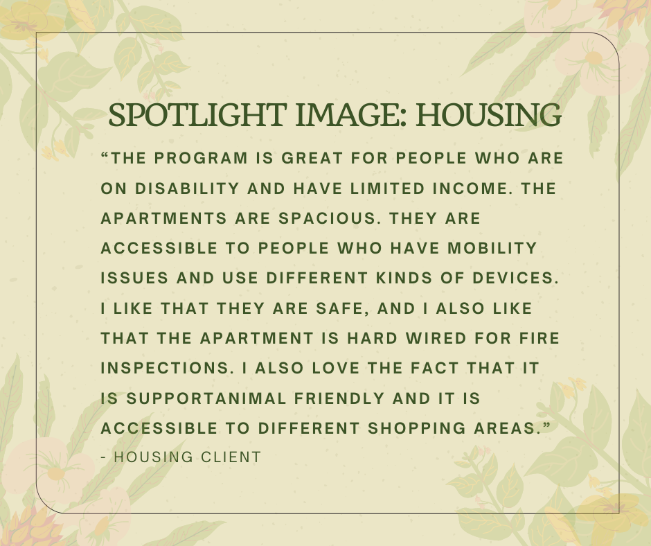 Quote from housing client about what they like about their new home